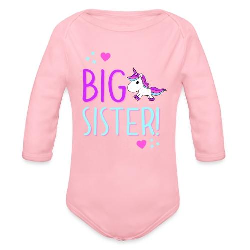 Big Sister Unicorn Design! - Organic Long Sleeve Baby Bodysuit