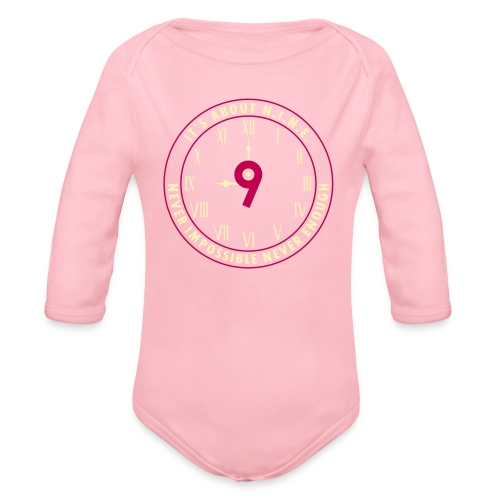 NINE Logo v2 2018 blue Outlines Red Numbers - Organic Long Sleeve Baby Bodysuit
