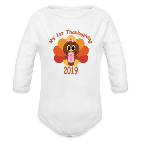 1st Thanksgiving-girl - Organic Long Sleeve Baby Bodysuit