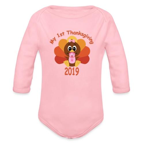 1st Thanksgiving-girl - Organic Long Sleeve Baby Bodysuit