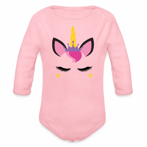 Unicorn Face - Organic Long Sleeve Baby Bodysuit