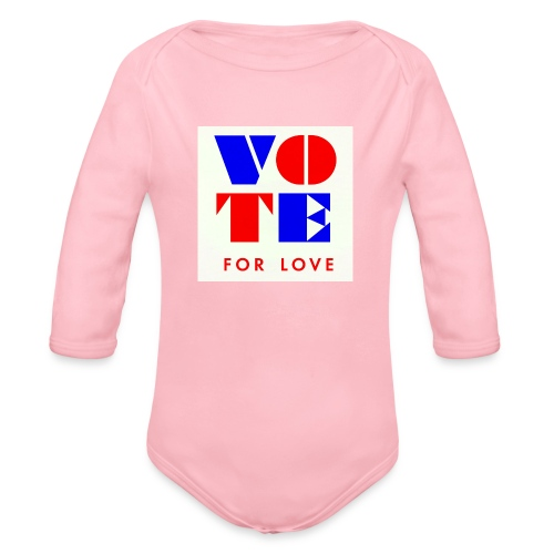 vote4love-sample - Organic Long Sleeve Baby Bodysuit