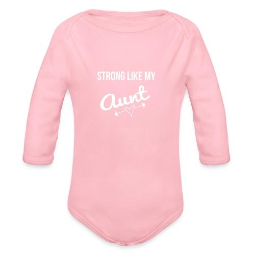 stong like my aunt (white) - Organic Long Sleeve Baby Bodysuit