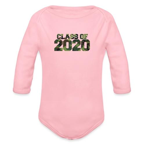 Class of 2020 Camo grad logo - Organic Long Sleeve Baby Bodysuit