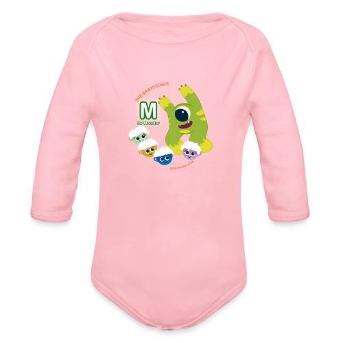 The Babyccinos M for Monster - Organic Long Sleeve Baby Bodysuit