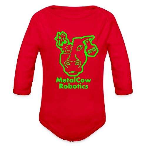 MetalCowLogo GreenOutline - Organic Long Sleeve Baby Bodysuit