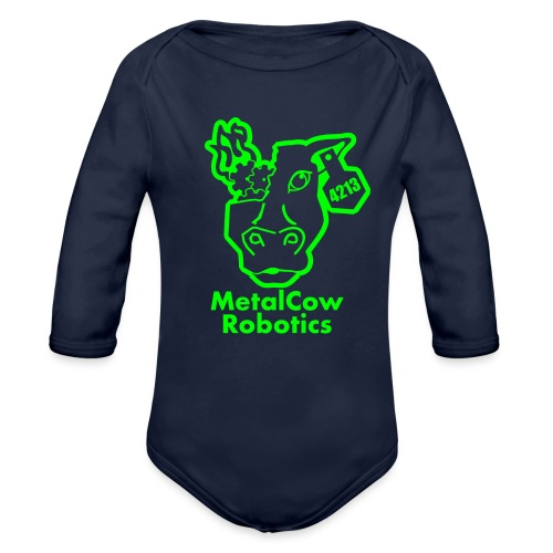 MetalCowLogo GreenOutline - Organic Long Sleeve Baby Bodysuit