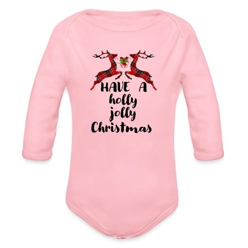 Holly Jolly Christmas - Organic Long Sleeve Baby Bodysuit