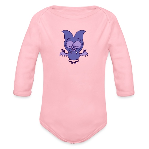 Purple bat meditating in joyful mood - Organic Long Sleeve Baby Bodysuit