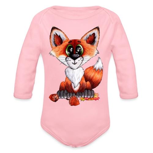 llwynogyn - a little red fox - Organic Long Sleeve Baby Bodysuit
