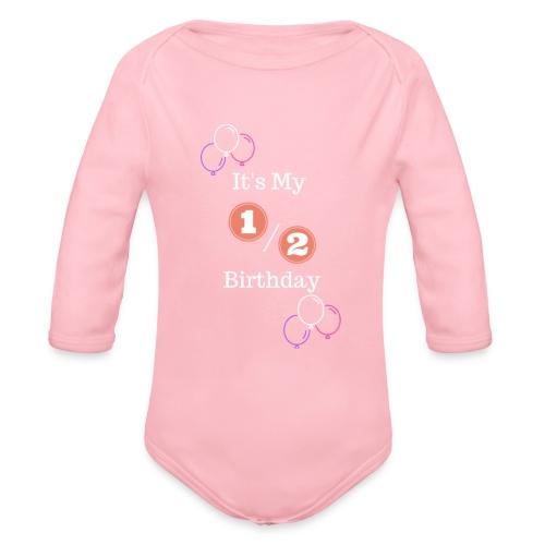 Half Birthday Girl (Purple) - Organic Long Sleeve Baby Bodysuit