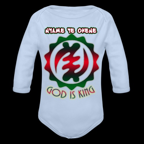 God is King Adinkra - Organic Long Sleeve Baby Bodysuit