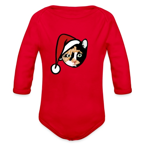 Calico Cat Santa - Organic Long Sleeve Baby Bodysuit