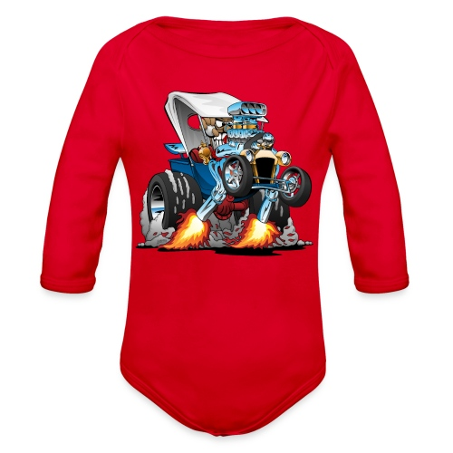 Custom T-bucket Roadster Hotrod Cartoon - Organic Long Sleeve Baby Bodysuit