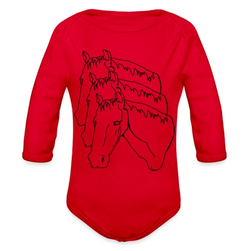 horsey pants - Organic Long Sleeve Baby Bodysuit