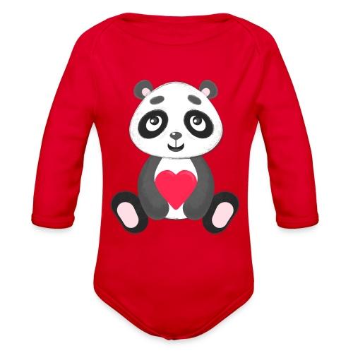 Sweetheart Panda - Organic Long Sleeve Baby Bodysuit