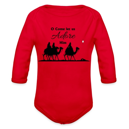 O Come Let Us Adore Him - Organic Long Sleeve Baby Bodysuit