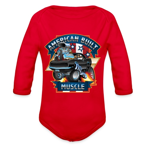 American Built Muscle - Classic Muscle Car Cartoon - Organic Long Sleeve Baby Bodysuit