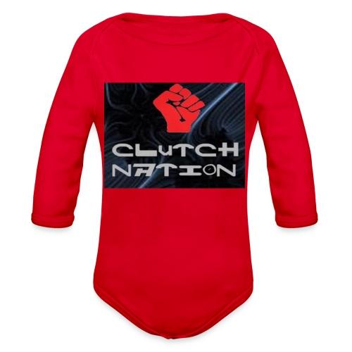 clutchnation logo merch - Organic Long Sleeve Baby Bodysuit