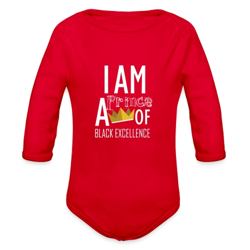 I AM A PRINCE OF BLACK EXCELLENCE - Organic Long Sleeve Baby Bodysuit
