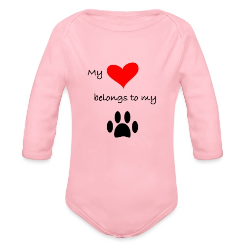Dog Lovers shirt - My Heart Belongs to my Dog - Organic Long Sleeve Baby Bodysuit