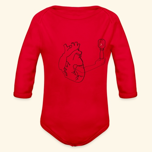Wounded Heart - Organic Long Sleeve Baby Bodysuit