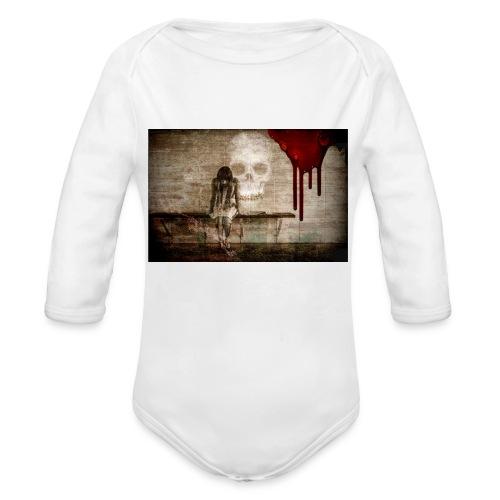 sad girl - Organic Long Sleeve Baby Bodysuit