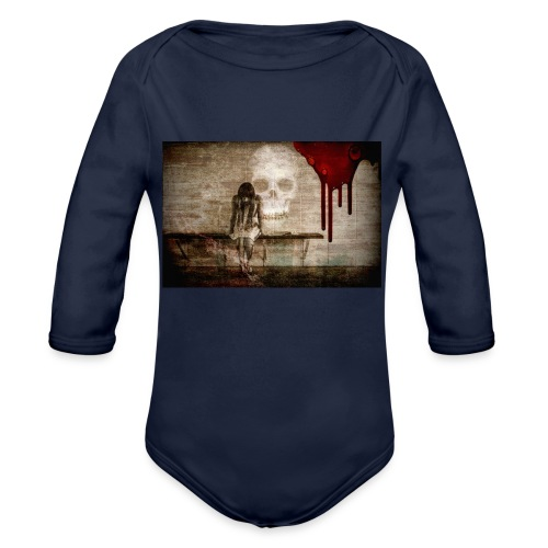 sad girl - Organic Long Sleeve Baby Bodysuit