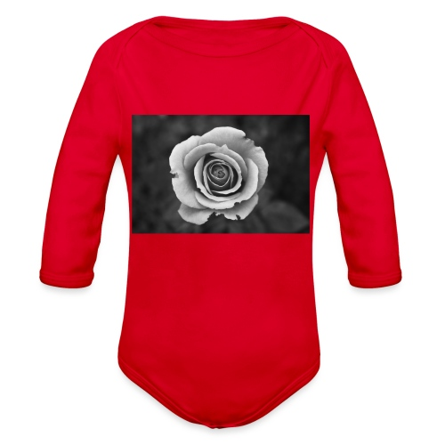 dark rose - Organic Long Sleeve Baby Bodysuit