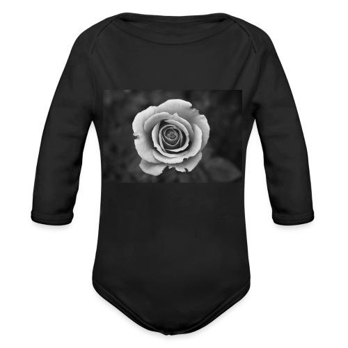 dark rose - Organic Long Sleeve Baby Bodysuit