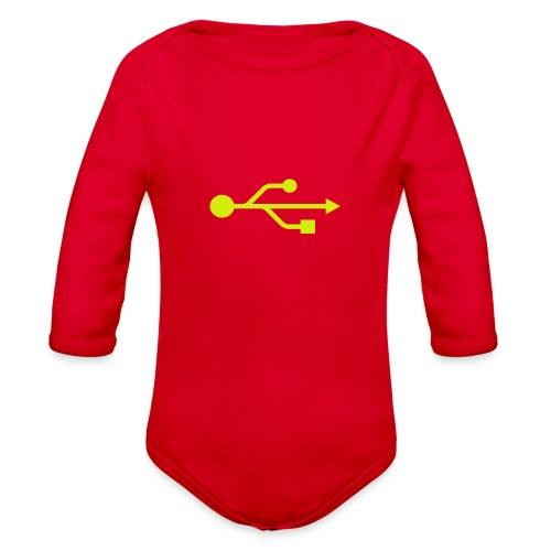 Yellow USB Logo Mid - Organic Long Sleeve Baby Bodysuit