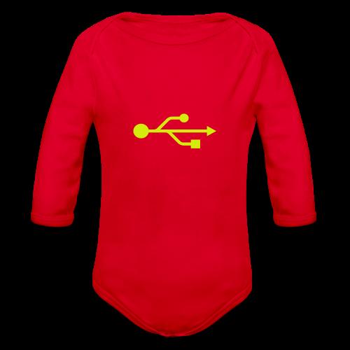 Yellow USB Logo Mid - Organic Long Sleeve Baby Bodysuit