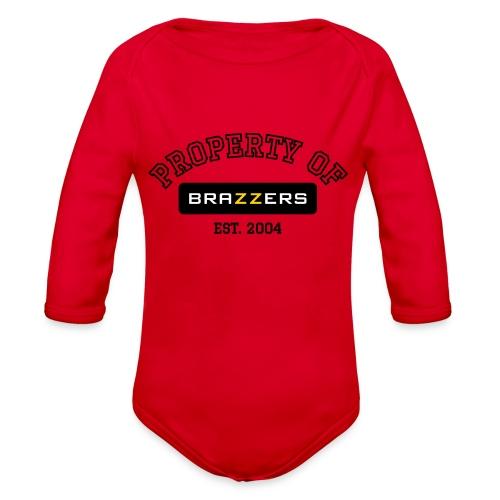 Property of Brazzers logo outline - Organic Long Sleeve Baby Bodysuit