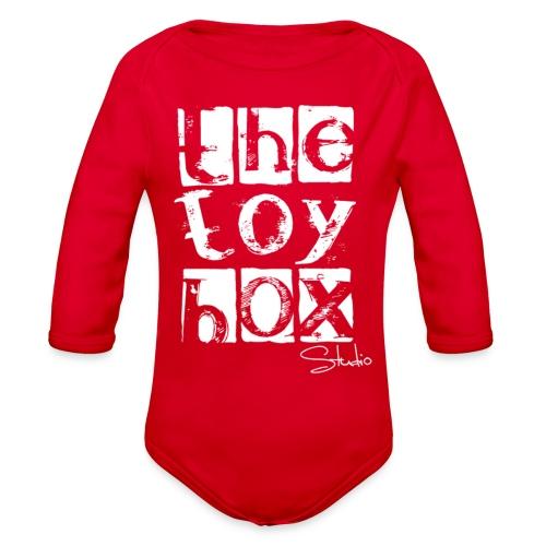 The Toy box Studio - White Logo - Organic Long Sleeve Baby Bodysuit