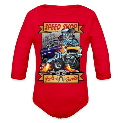 Speed Shop Hot Rod Muscle Car Cartoon Illustration - Organic Long Sleeve Baby Bodysuit