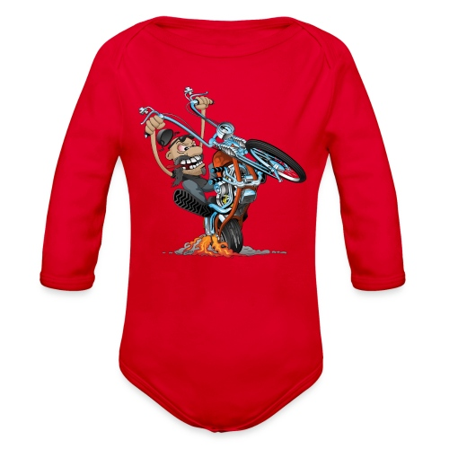 Funny biker riding a chopper cartoon - Organic Long Sleeve Baby Bodysuit