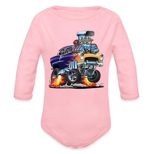 Classic Fifties Hot Rod Muscle Car Cartoon - Organic Long Sleeve Baby Bodysuit