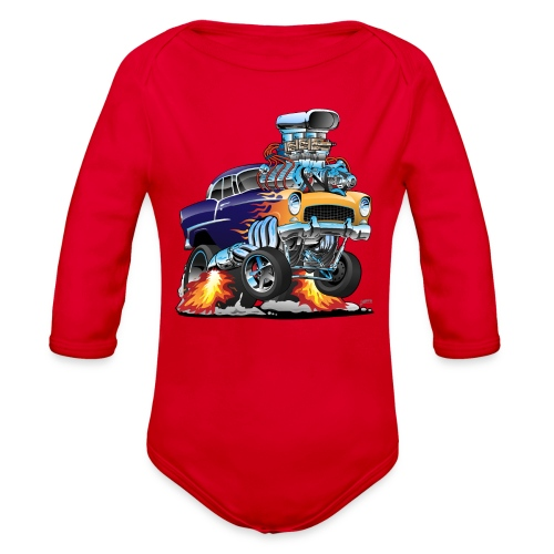Classic Fifties Hot Rod Muscle Car Cartoon - Organic Long Sleeve Baby Bodysuit