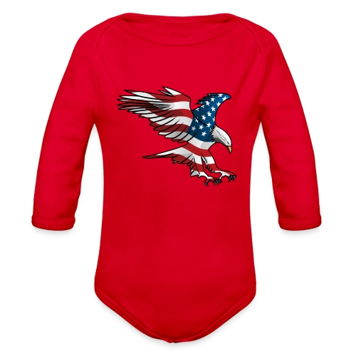 Patriotic American Eagle - Organic Long Sleeve Baby Bodysuit