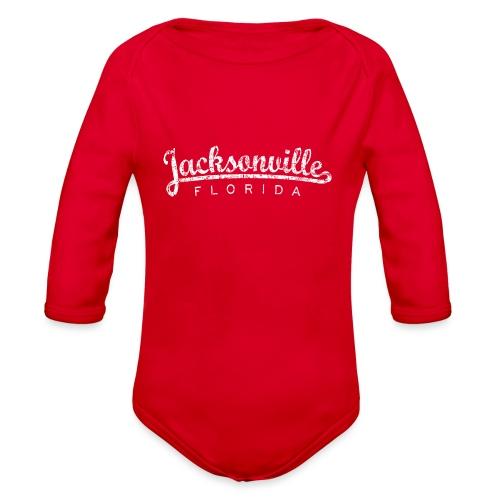 Jacksonville, Florida (Vintage White) - Organic Long Sleeve Baby Bodysuit