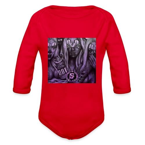 see no hear no - Organic Long Sleeve Baby Bodysuit