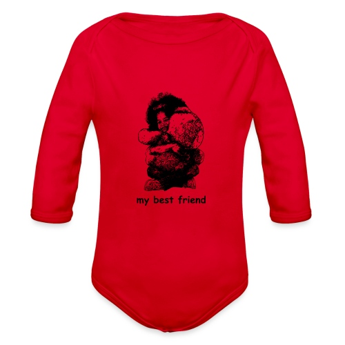 My best friend (girl) - Organic Long Sleeve Baby Bodysuit