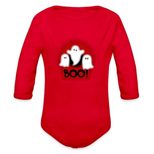Ghosties Boo Happy Halloween 5 - Organic Long Sleeve Baby Bodysuit