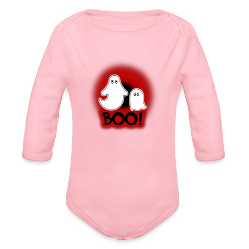 Ghosties Boo Happy Halloween 2 - Organic Long Sleeve Baby Bodysuit