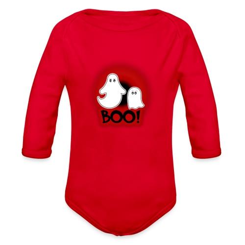Ghosties Boo Happy Halloween 2 - Organic Long Sleeve Baby Bodysuit