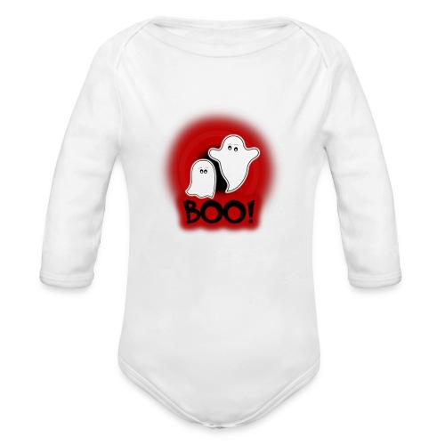 Ghosties Boo Happy Halloween 1 - Organic Long Sleeve Baby Bodysuit