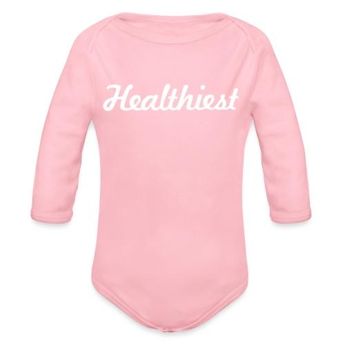 Sick Healthiest Sticker! - Organic Long Sleeve Baby Bodysuit