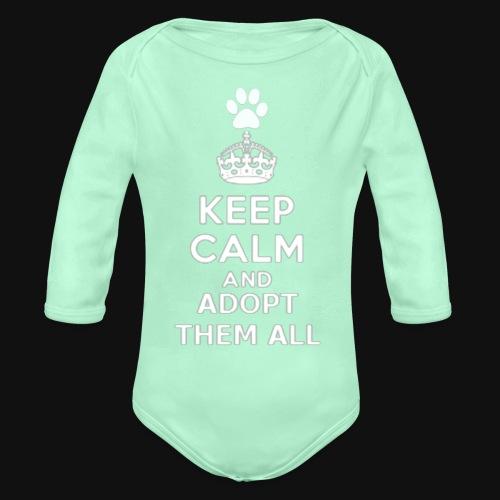 KEEP CALM2 white - Organic Long Sleeve Baby Bodysuit