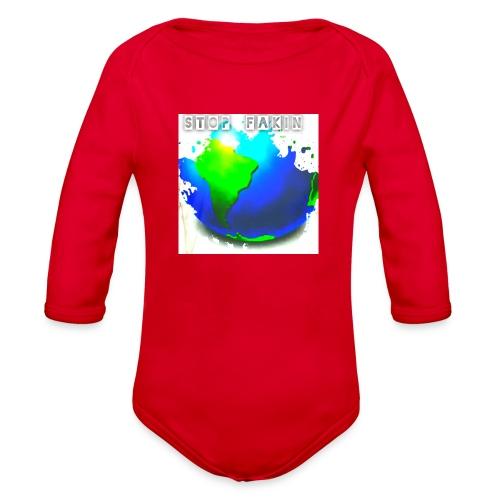 STOP FAKIN WORLD - Organic Long Sleeve Baby Bodysuit