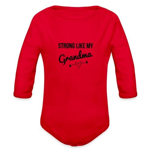 strong like my grandma (black) - Organic Long Sleeve Baby Bodysuit